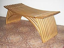 Double Bench by Yokhai Givon (Wood Bench)
