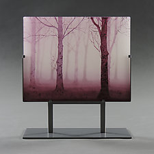 Red Trees in Twilight by Paul Messink (Art Glass Sculpture)