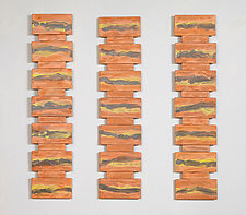 Orange Rock Face Triptych by Kristi Sloniger (Ceramic Wall Sculpture)