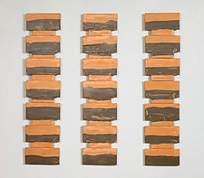 Muted Orange Triptych by Kristi Sloniger (Ceramic Wall Sculpture)