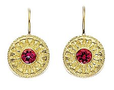 Classics Pink Tourmaline Round Earrings by Alyssa Reiner (Gold & Stone Earrings)