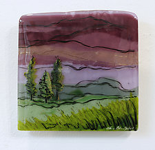 Violet Skies by Alice Benvie Gebhart (Art Glass Wall Sculpture)