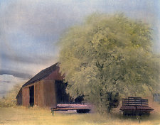 Sound Avenue Farm by Elizabeth Holmes (Infrared, Hand Painted Photograph)