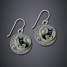 Black Cat Earrings by Dawn Estrin (Silver Earrings)