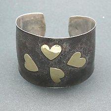 4 Hearts Cuff by Dennis Higgins (Gold & Silver Bracelet)
