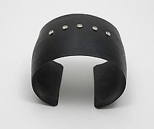 5 Sapphire Black Chrome Cuff by Dennis Higgins (Bronze & Stone Bracelet)