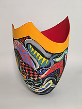 Sculpted Multicolored Tall Vase by Jean Elton (Ceramic Vase)