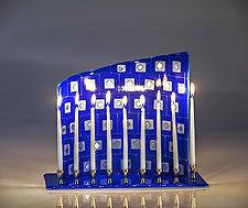 Blue and White Menorah by Varda Avnisan (Art Glass Menorah)