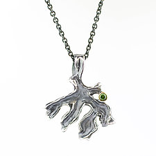 Curly Lichen Pendant with Green Diamond by Renee Ford (Silver & Stone Necklace)