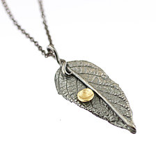 Lichen Leaf Pendant by Renee Ford (Gold & Silver Necklace)