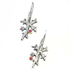Fractal Lichen Ruby Earrings by Renee Ford (Silver & Stone Earrings)