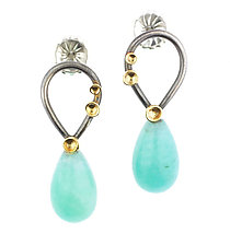 Lichen Pear Post Amazonite Earrings by Renee Ford (Gold, Silver & Stone Earrings)