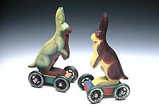 Fancy Wheel Rabbits by Dona Dalton (Wooden Sculpture)