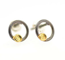 Lichen Circle Studs by Renee Ford (Gold & Silver Earrings)