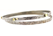 Lichen Bangle Bracelet Duo by Renee Ford (Gold & Silver Bracelet)
