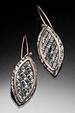 Red Gold Woven Leaf Earrings by Linda Bernasconi (Gold & Silver Earrings)