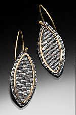 Yellow Gold Woven Leaf Earrings by Linda Bernasconi (Gold & Silver Earrings)