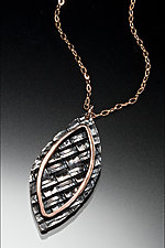Red Gold Woven Leaf Pendant by Linda Bernasconi (Gold & Silver Necklace)