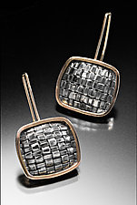 Basket Weave Square Earrings by Linda Bernasconi (Gold & Silver Earrings)