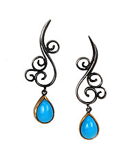 Wrought Drops with Persian Turquoise by Natasha Wozniak (Silver & Stone Earrings)