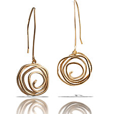 Long Swirl Vermeil Earrings by Lori Gottlieb (Gold & Silver Earrings)