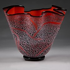 Fissure Bowl, Fire by Eric Bladholm (Art Glass Bowl)