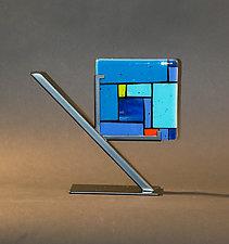 Tiles Blue by Vicky Kokolski and Meg Branzetti (Art Glass Sculpture)