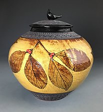 Dogwood Jar with Bird Knob by Suzanne Crane (Ceramic Vessel)