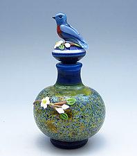 Blue Bird Bottle by Chris Pantos (Art Glass Perfume Bottle)