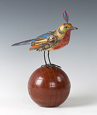 Rose-Throated Kingbird on Bocce Ball by Jim and Tori Mullan (Wood Sculpture)