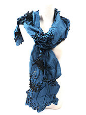 Flower Petal Print & Hand Pleats Scarf in Blue and Black by Yuh  Okano (Cotton Scarf)