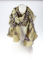 Flower Petal Print & Pleats Scarf in Sage & Purple by Yuh  Okano (Cotton Scarf)