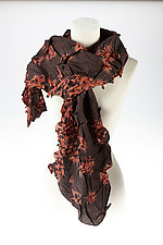 Flower Petal Print & Pleats Scarf in Brick & Scarlet by Yuh  Okano (Cotton Scarf)