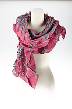 Flower Petal Print & Pleats Scarf in Pink & Blue by Yuh  Okano (Cotton Scarf)