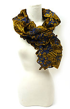 Velvet Flower Petal Print & Pleats Scarf in Gold by Yuh  Okano (Velvet Scarf)