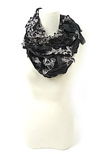 Flower Petal Print & Pleats Scarf in Black II by Yuh  Okano (Velvet Scarf)