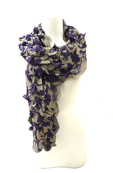 Large Flower Petal Print & Pleats Scarf in Sage and Purple