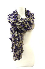 Large Flower Print & Pleats Scarf in Sage and Purple by Yuh  Okano (Cotton Scarf)