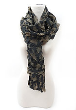 Large Flower Petal Print & Pleats Scarf in Black by Yuh  Okano (Cotton Scarf)
