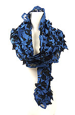 Large Flower Petal Print & Pleats Scarf in Blue & Black by Yuh Okano (Cotton Scarf)