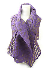 Accordion Drape Pleats Polyester Scarf in Orange by Yuh  Okano (Polyester Scarf)