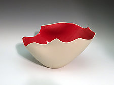 Sculpted Vase with Red Interior by Jean Elton (Ceramic Vase)