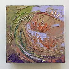 Lotus, Leaves Swirling in the Morning Sun by Dorothy Fagan (Oil Painting)