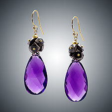 Amethyst Cluster Earrings by Judy Bliss (Gold & Stone Earrings)