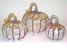 White Gold Pumpkins by Ken Hanson and Ingrid Hanson (Art Glass Sculpture)