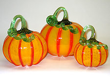 Yellow and Orange Pumpkins by Ken Hanson and Ingrid Hanson (Art Glass Sculpture)
