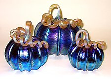 Silver Blue Pumpkin by Ken Hanson and Ingrid Hanson (Art Glass Sculpture)