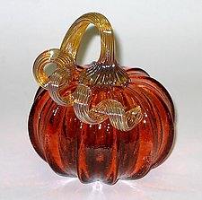 Aurora Pumpkin by Ken Hanson and Ingrid Hanson (Art Glass Sculpture)