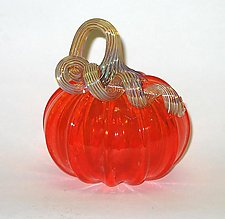 Transparent Orange Pumpkin by Ken Hanson and Ingrid Hanson (Art Glass Sculpture)