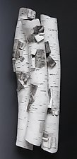 Birch in High Relief Four by Lenore Lampi (Ceramic Wall Sculpture)